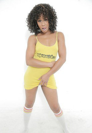Curly-haired ebony Misty Stone plays with her ass and nipples