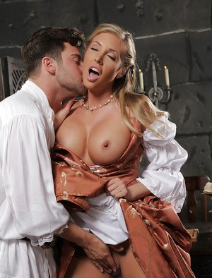 Tanned blonde with big boobies Samantha Saint is sucking a dick