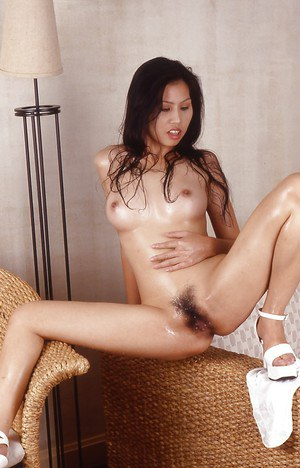 Thai girl with innocent face stretch her legs and hairy pussy