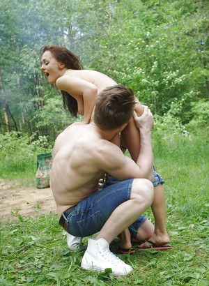 Insane group sex in the forest with awesome slender beauties!