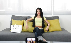 Black-haired babe Adriana Chechik takes off her jeans very slowly