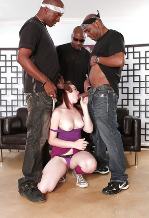 Perverted interracial gangbang with astonishing Ariel Stonem