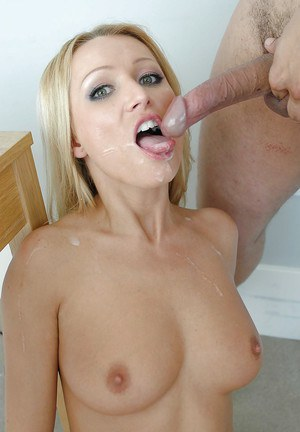 Bleached babe Diana Doll is sucking and swallowing after lessons