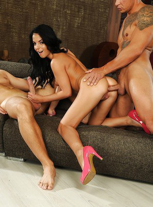 Cocky dudes are banging skinny model Aletta Ocean in her juicy ass