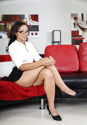 Teen ebony Adrian Maya takes off her office clothing and getting naked