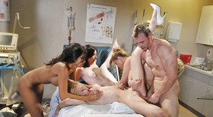 Gang of sluts are fucking in the medicine office so thrilling
