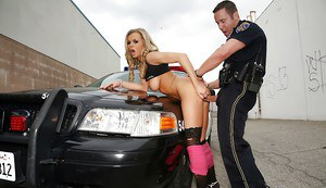 Outdoor hardcore fucking on the hood with sensual blonde Bree Olson