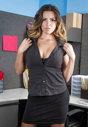 Chesty office worker Danica Dillon letting large all natural juggs loose  388665