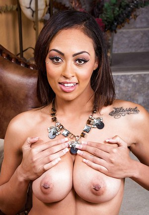 Big-tit ebony Cherry Hilson is touching her hard nipples so spicy