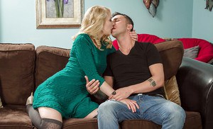 Blonde Alli Rae is giving a deep blowjob and swallowing the load