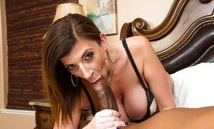 Awesome dark-haired babe Sara Jay is giving a head and swallowing