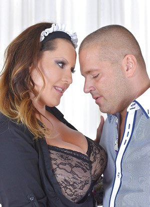 Busty Maid Laura Orsolya is sucking a hard dick of her new boss