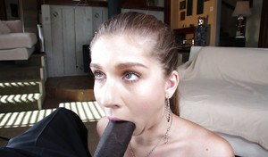 Sweet young slut Alex Chance fucks with this big black prick
