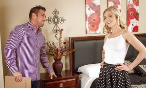 Sensual wife blonde Karla Kush fucks in doggy style in her bedroom