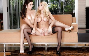 Glamorous babes Anna Morna and Kayla Kayden are playing with toys