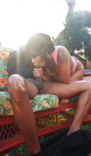Ebony Nikki Ford sucks this big black dick outdoors at the poolside