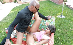 Brunette ebony Nikki Ford fucks with big black cock in her ass