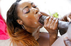 Ebony milf Chanell Heart is swallowing juicy load of tasty juice