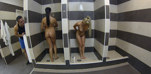 Two babes Afrodity and Anna Rose are taking shower at the backstage