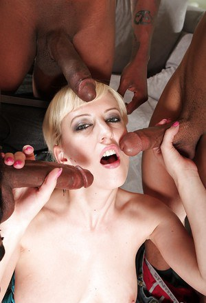 Interracial gangbang with spicy young blonde Cherry Torn and blacks