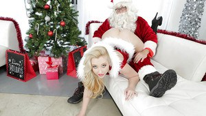Sensual blonde Harley Q is screwing with some Christmas toys!