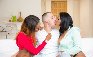 Two hot black babes Monique Symone and Chanell Heart and white rod