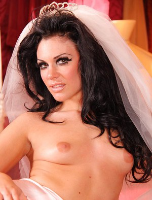 Astonishing brunette bride Andy San Dimas is masturbating her vag