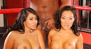 Hot interracial threesome with sexy Asa Akira and Jessica Bangkok