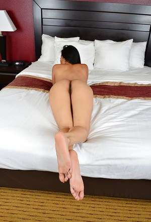 Spicy tanned Asian chick Angelina Chung undress and masturbate