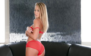 Mom blonde Carter Cruise slowly undressing her red lingerie