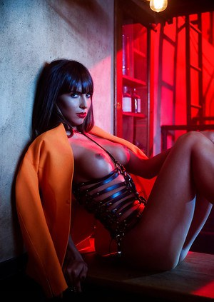 Centerfold Brittny Ward poses in her elegant-looking latex dress