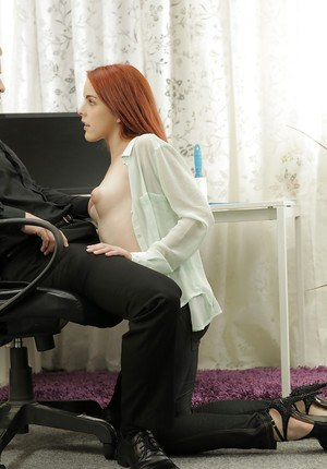 Redhead innocent beauty Amarna Miller is playing with boss's dick