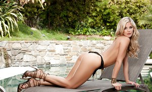 Centerfold blonde babe Audrey Aleen Allen shows her naked shape