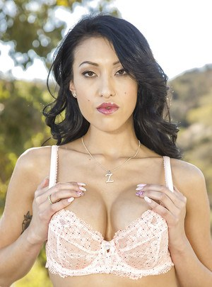 Pretty hot brunette Jayden Lee is getting naked outdoors on cam