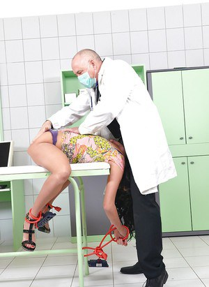 BDSM queen Anissa Kate gets her ass hole poked by two doctor's tools