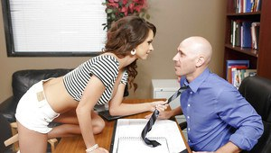 Hard-working office girl Ashley Sinclair swallows superb hard penis