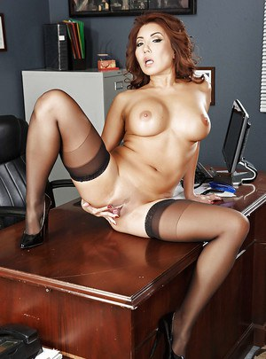 Timid Asian babe Akira Lane undresses and poses on office desk