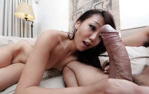 Playful slant-eyed babe Miko Dai shows Asian way of cock-sucking