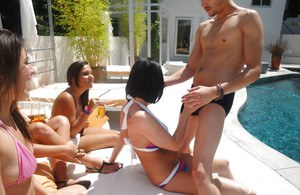 Delicious Loni Evans and her slutty friends gang up on a horny stud