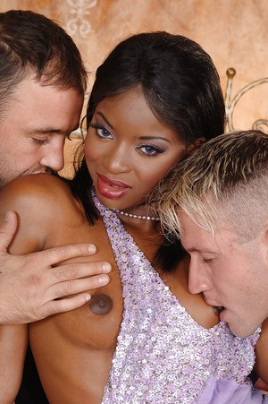 Two engorged packers fill every single hole of ebony milf Jasmine