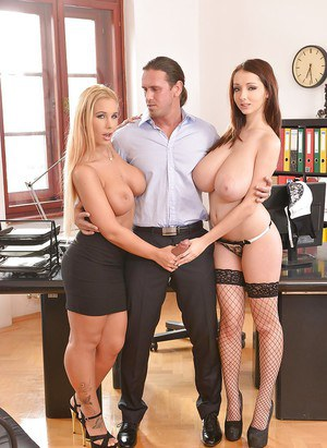 Solid shaft gets great pleasure from busty Lucie Wilde and Kyra Hot