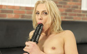 Milf babe Brittany Bardot toying cooter and masturbating with dildo