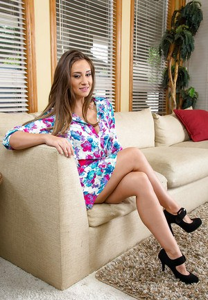 Teen babe Cassidy Klein posing fully clothed and in lingerie
