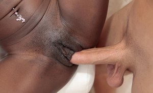 Hard cock sprays ebony honeys Naomi Gamble and Molleuex Au Chocolat