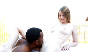 Interracial ball licking and dick sucking for young doll Summer Carter