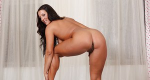 Horny brunette Mega Clit exposing her perfectly formed pink labia