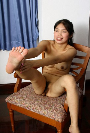 Asian babe Diep playing with her all natural Oriental tits and pussy