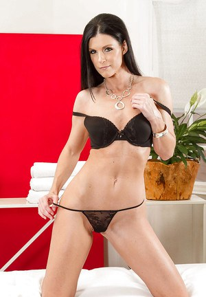 Sexy cougar India Summer modeling topless thin frame in high heels