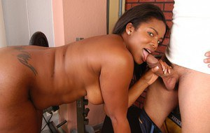 Plump black chick Annabelle blowing an older white man's dick