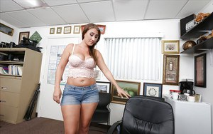 Plumper chick Skyler Luv pulls her large natural breasts out
